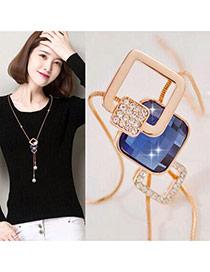 Fashion Sapphire Blue+rose Gold Bead Pendant Decorated Geometric Shape Design Necklace