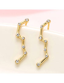 Fashion Gold Color Diamond Decorated Geometric Shape Design Pure Color Earrings