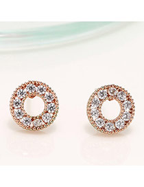 Trendy Rose Gold Color Diamond Decorated Round Shape Design Hollow Out Earrings