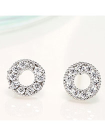 Elegant Silver Color Diamond Decorated Round Shape Design Hollow Out Earrings