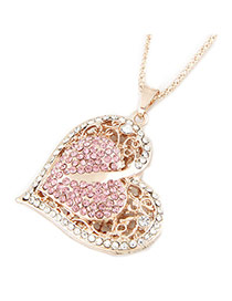 Vintagr Pink+gold Color Diamond Decorated Heart Shape Pendant Design Necklace