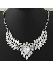 Trendy Silver Color Waterdrop& Leaf Shape Pendant Decorated Simple Design Jewelry Sets