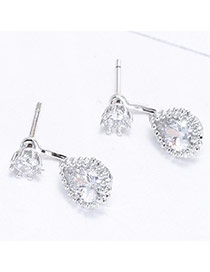 Sweet Silver Color Waterdrop Shape Diamond Decorated Simple Earring