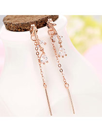 Sweet Rose Gold Vertical Bar&waterdrop Diamond Decorated Simple Earring