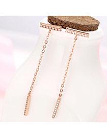Sweet Rose Gold Vertical Bar Pendant Decorated Tassle Earring
