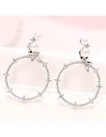 Sweet Silver Color Pearl Decorated Big Round Shape Earring