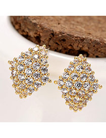 Sweet Gold Color Diamond Decorated Rhombus Shape Earring