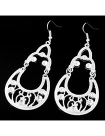 Fashion Silver Color Pearls Decorated Hollow Out Water Drop Shape Earrings