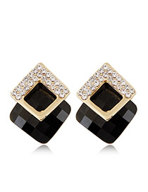 Fashion Black+golden Color Diamond&square Shape Gemstone Decorated Three-dimensional Earrings