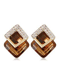 Fashion Brown+golden Color Diamond&square Shape Gemstone Decorated Three-dimensional Earrings