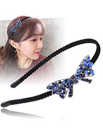 Vintage Sapphire Blue Oval Shape Diamond Decorated Bowknot Shape Design Hair Hoop