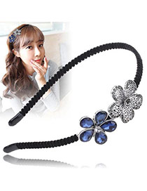 Vintage Silver Color+sapphire Blue Water Drop Shape Diamond Decorated Flower Shape Design Hair Hoop