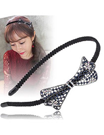 Vintage Sapphire Blue+black Diamond Decorated Hollow Out Oval Shape Bow Tie Design Hair Hoop