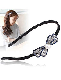 Vintage Sapphire Blue+black Big Pearl Decorated Hollow Out Bowknot Shape Hair Hoop