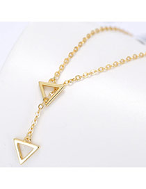 Sweet Gold Color Double Hollow Out Triangle Shape Pendant Decorated Pure Color Necklace