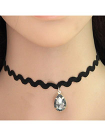 Personality Black Waterdrop Shape Diamond Pendant Decorated Pure Color Design Choker
