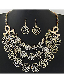 Exaggerate Gold Color Rose Flower Shape Decorated Hollow Out Design Multilayer Jewelry Sets