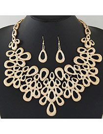 Luxury Gold Color Waterdrop Shape Decorated Pure Color Design Jewelry Sets