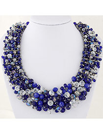 Elegant Sapphire Blue+tranparent Color Bead Decorated Hand-woven Short Chain Necklace