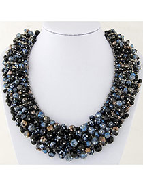 Trendy Multi-color Bead Decorated Hand-woven Multilayer Design Necklace