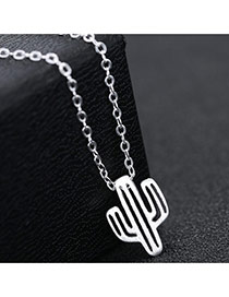 Fashion Silver Color Cactus Shape Pendant Decorated Long Chain Simple Necklace