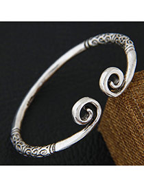 Personality Silver Color Round Shape Decorated Pure Color Design Opening Bracelet