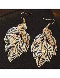 Fashion Gold Color Metal Leaf Decorated Pure Color Design Simple Earrings
