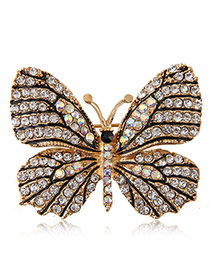 Delicate White Diamond Decorated Butterfly Design Simple Brooch
