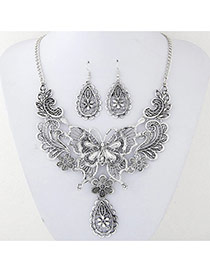 Vintage Silver Color Metal Butterfly Decorated Hollow Out Design Jewelry Sets