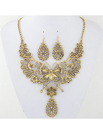 Vintage Gold Color Metal Butterfly Decorated Hollow Out Design Jewelry Sets