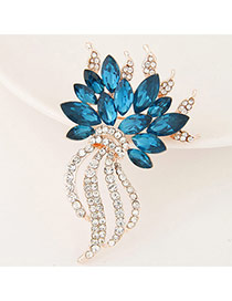 Delicate Blue+white Waterdrop Shape Diamond Decorated Simple Brooch