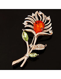 Elegant Multi-colour Waterdrop Shape Decorated Flower Design Hollow Out Brooch