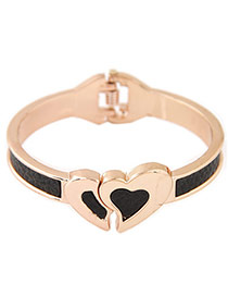 Elegant Black Double Heart Shape Decorated Simple Bracelet