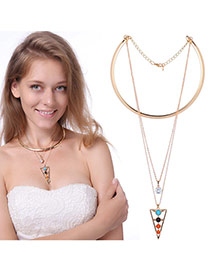 Exaggerated Multi-color Triangle Shape Pendant Decorated Multilayer Necklace