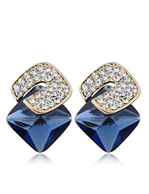 Sweet Sapphire Blue Diamond Decorated Three-dimensional Square Gemstone Earring