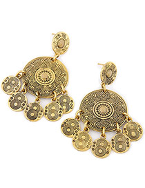 Vintage Antique Gold Coin Shape Pendant Decorated Tassel Earring