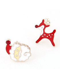 Cute Red+white Christmas Series Shape Decorated Dissymmetry Earring