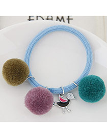 Bohemia Sky Blue Bird&fuzzy Ball Shape Pendant Decorated Simple Hair Brand