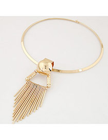 Fashion Gold Color Tassel Pendant Decorated Pure Color Simple Necklace