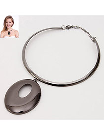 Fashion Gun Black Hollow Out Oval Shape Decorated Pure Color Simple Necklace