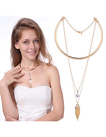 Fashion Gold Color Diamond&long Tassel Pendant Decorated Pure Color Necklace