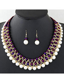 Fashion Purple+white Pearls&diamond Decorated Multi-layer Jewelry Sets