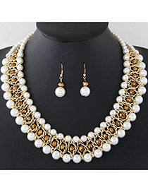 Fashion White+gold Color Pearls Decorated Multi-layer Hand-woven Jewelry Sets