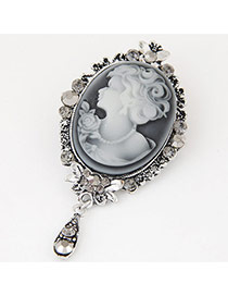Fashion Silver Color Lady Pattern Decorated Flower Border Design Simple Brooch