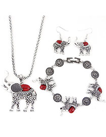 Fashion Red Oval Shape Gemstone Decorated Calf Elephant Shape Jewelry Sets