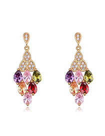 Fashion Multi-color Water Drop Shape Diamond Decorated Hollow Out Rhombus Shape Earrings
