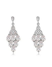 Fashion White Water Drop Shape Diamond Decorated Hollow Out Rhombus Shape Earrings