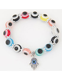 Personlity Muti-color Metal Palm Pendant Decorated Eyes Design Simple Bracelet