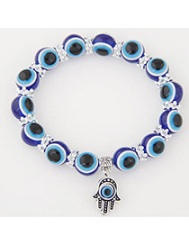 Personlity Dark Blue Metal Palm Pendant Decorated Eyes Design Simple Bracelet
