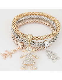 Elegant Muti-color Human Shape Pendant Decorated Multilayer Bracelet